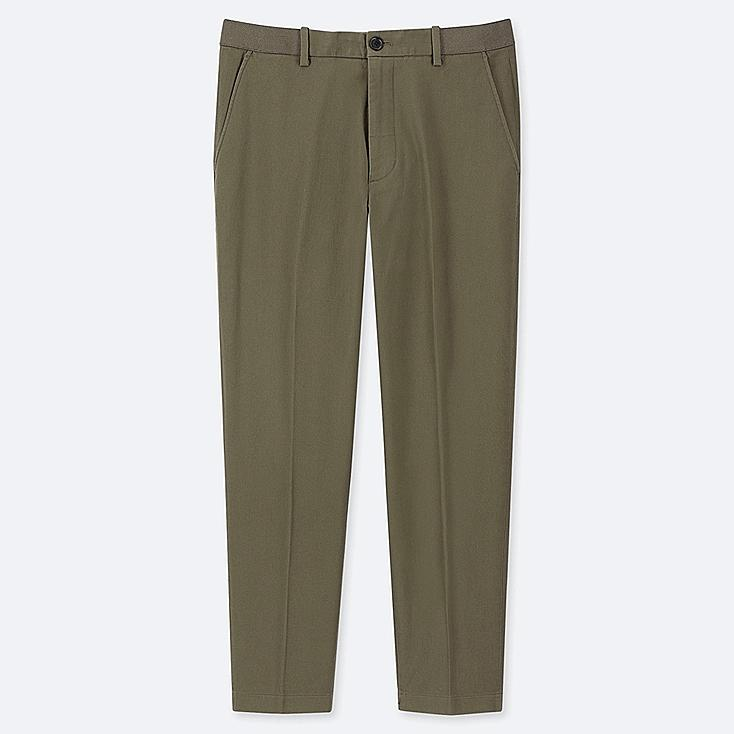 MEN EZY ANKLE-LENGTH PANTS (COTTON), OLIVE, large