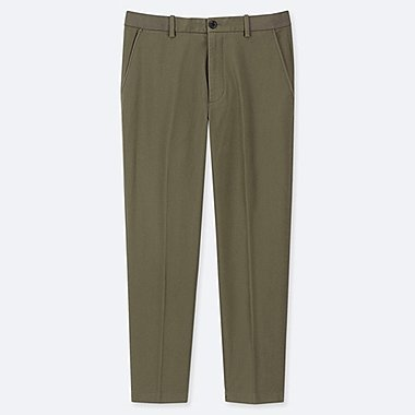 MEN EZY ANKLE-LENGTH PANTS (COTTON), OLIVE, medium
