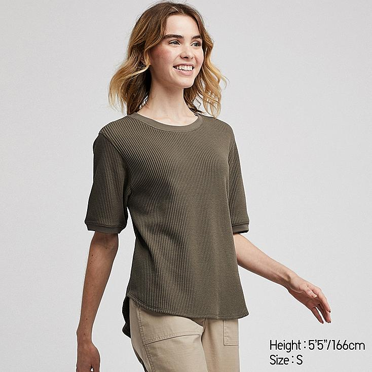 WOMEN WAFFLE CREW NECK SHORT-SLEEVE T-SHIRT, OLIVE, large