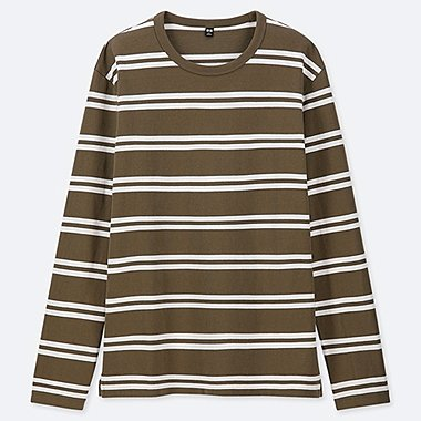 MEN WASHED STRIPED LONG-SLEEVE T-SHIRT, OLIVE, medium