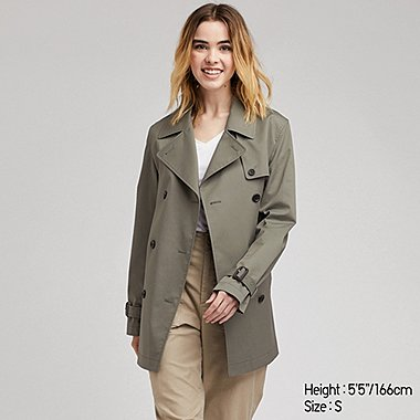 1af1a5cdf61 WOMEN DOUBLE BREASTED BELTED SHORT TRENCH COAT