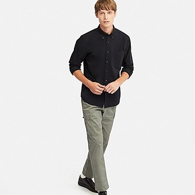 MEN PULL ON RELAXED CARGO PANTS, OLIVE, medium