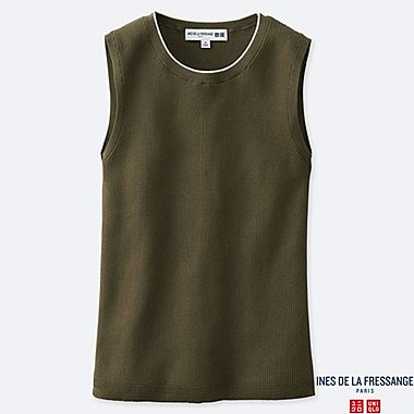 WOMEN UV CUT SUPIMA® COTTON SLEEVELESS SWEATER (INES DE LA FRESSANGE), OLIVE, medium