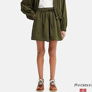 WOMEN FLARE SHORTS (JW Anderson), OLIVE, medium