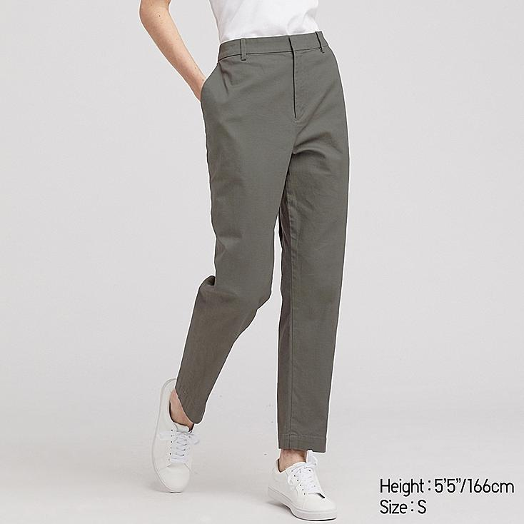 WOMEN EZY CHINO ANKLE PANTS, OLIVE, large