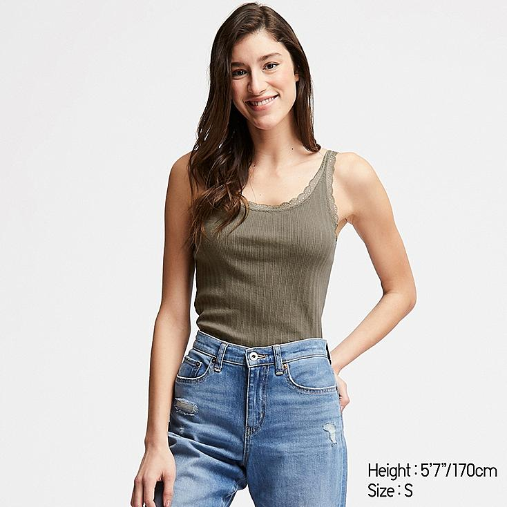 WOMEN COTTON POINTELLE LACE SLEEVELESS TOP, OLIVE, large