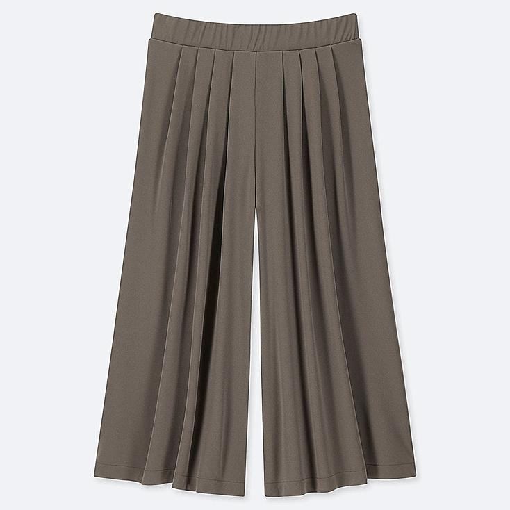 WOMEN CREPE JERSEY FLARE WIDE CROPPED PANTS, OLIVE, large