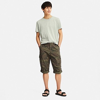 MEN PULL-ON ROLL UP 3/4 CARGO PANTS (ONLINE EXCLUSIVE), OLIVE, medium