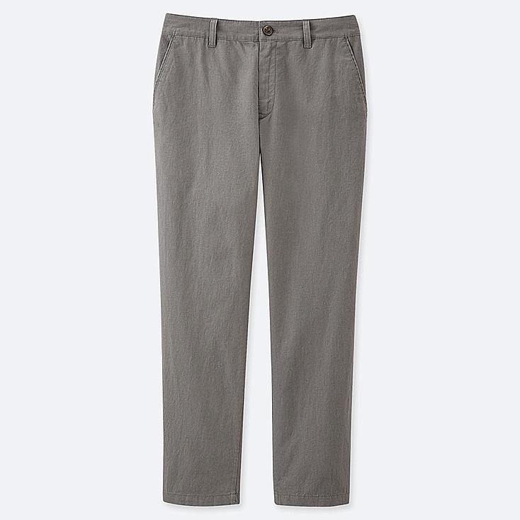"WOMEN LINEN COTTON TAPERED PANTS (TALL 30"") (ONLINE EXCLUSIVE), OLIVE, large"