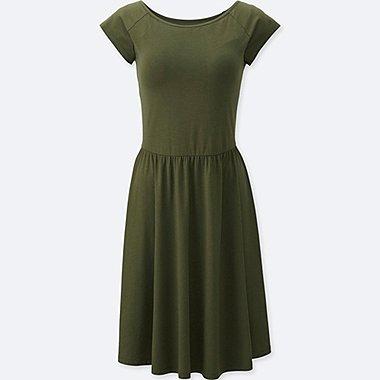 Short Sleeve Shelf Bra Dress, OLIVE, medium