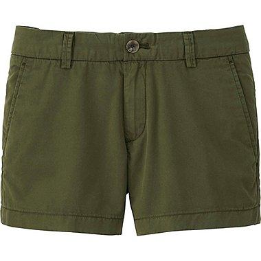 Women Chino Micro Shorts, OLIVE, medium