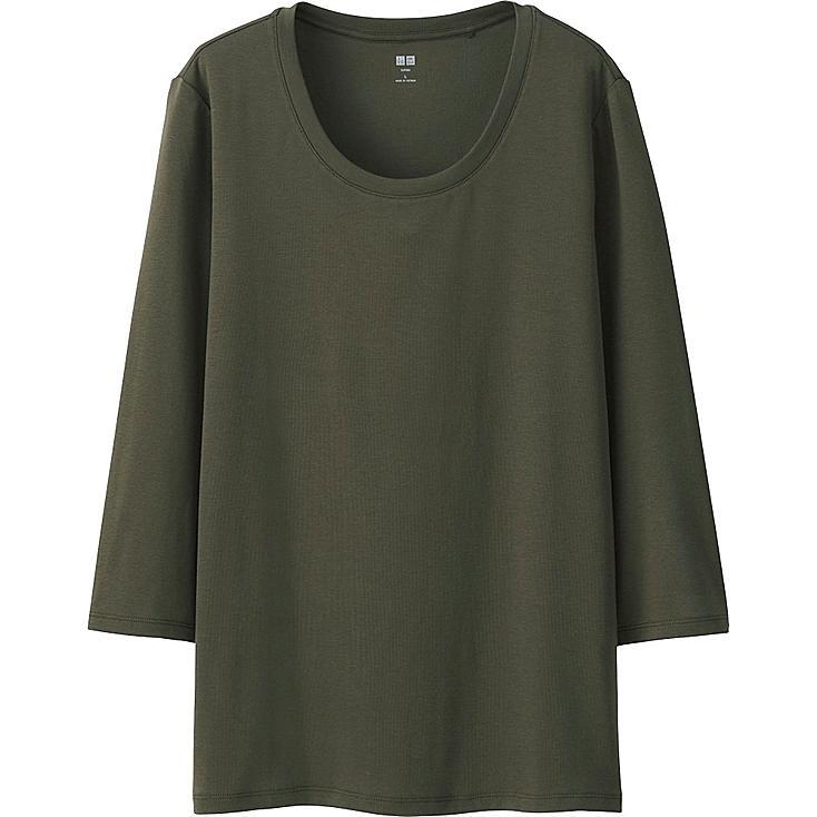 Women's Supima® Cotton 3/4 Sleeve Crew Neck T-Shirt, OLIVE, large