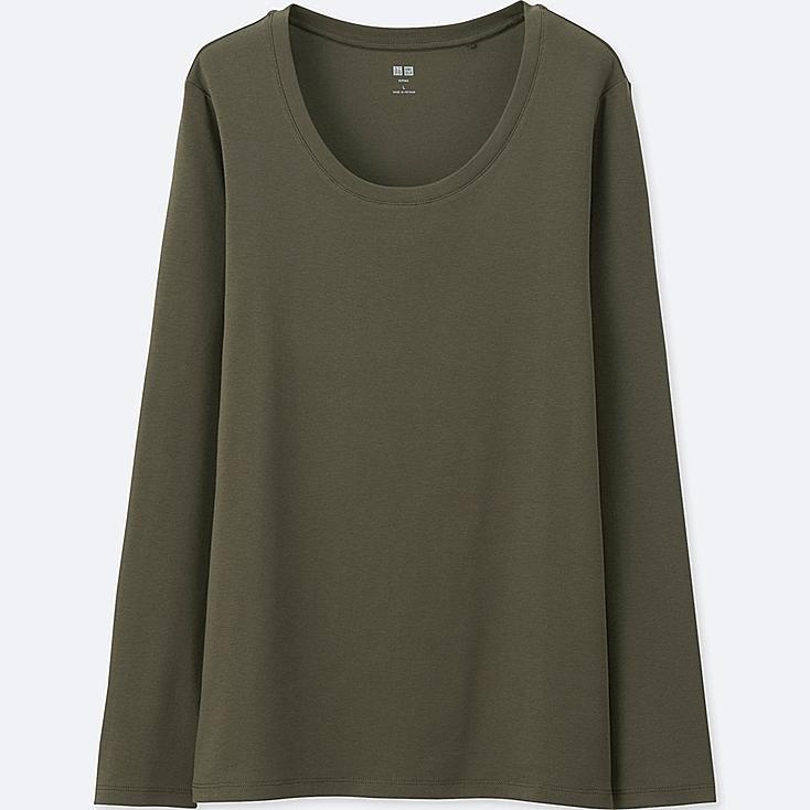 Women's Supima® Cotton Crewneck Long Sleeve T-Shirt, OLIVE, large