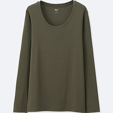 Womens Supima® Cotton Crewneck Long Sleeve T-Shirt, OLIVE, medium