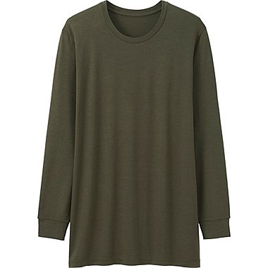 MEN HEATTECH CREWNECK T-SHIRT (LONG SLEEVE), OLIVE, medium