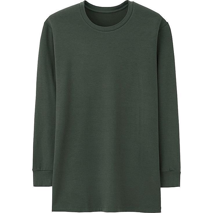 Men HEATTECH Long Sleeve Extra Warm T-Shirt, OLIVE, large
