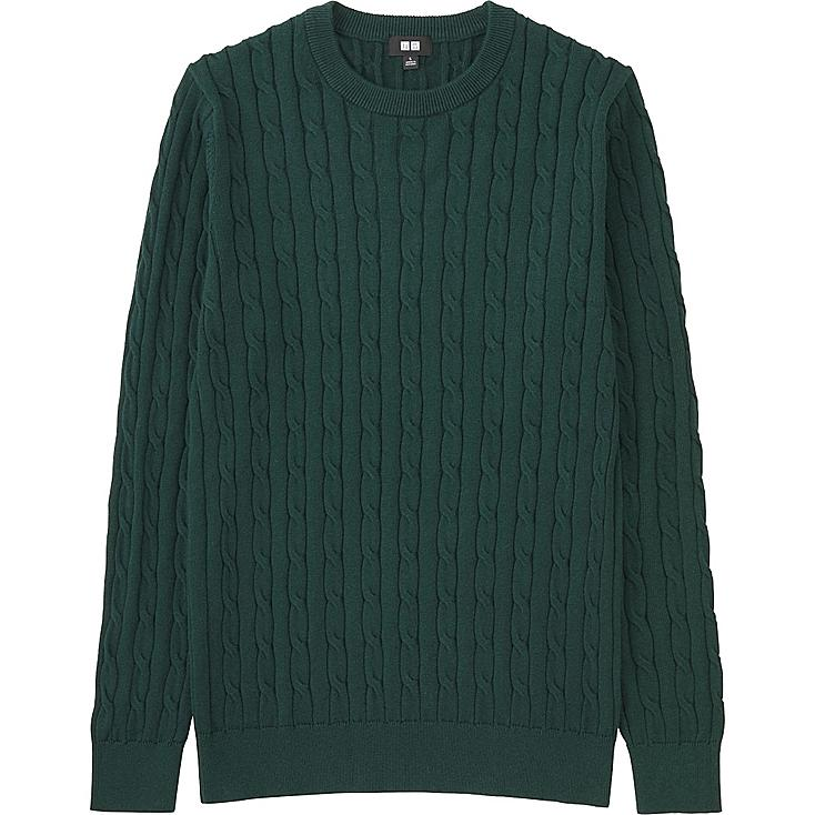 MEN CABLE CREWNECK SWEATER, OLIVE, large