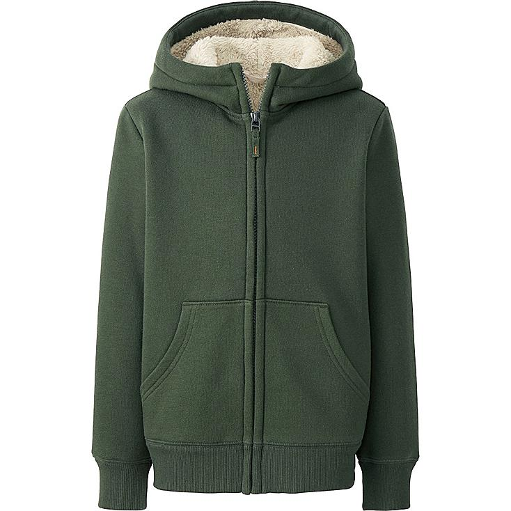 KIDS PILE-LINED SWEAT LONG SLEEVE FULL-ZIP HOODED JACKET, OLIVE, large