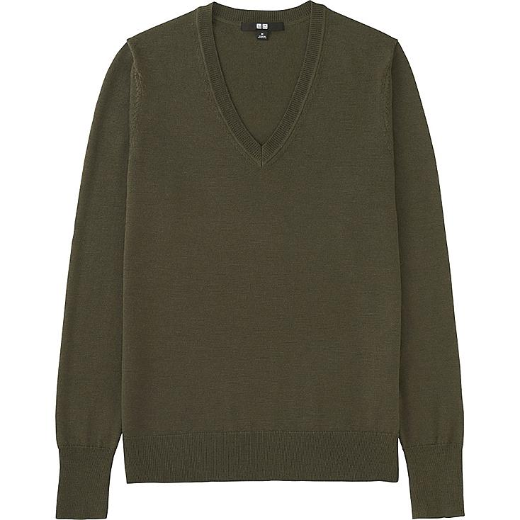 Women Extra Fine Merino Wool V-Neck Sweater, OLIVE, large