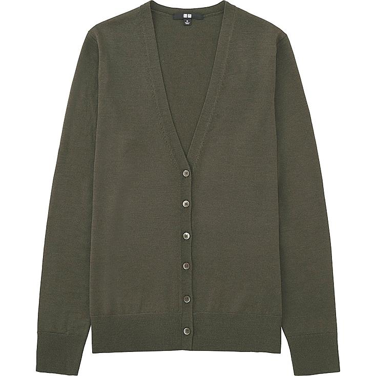 Women Extra Fine Merino Wool V-Neck Cardigan, OLIVE, large