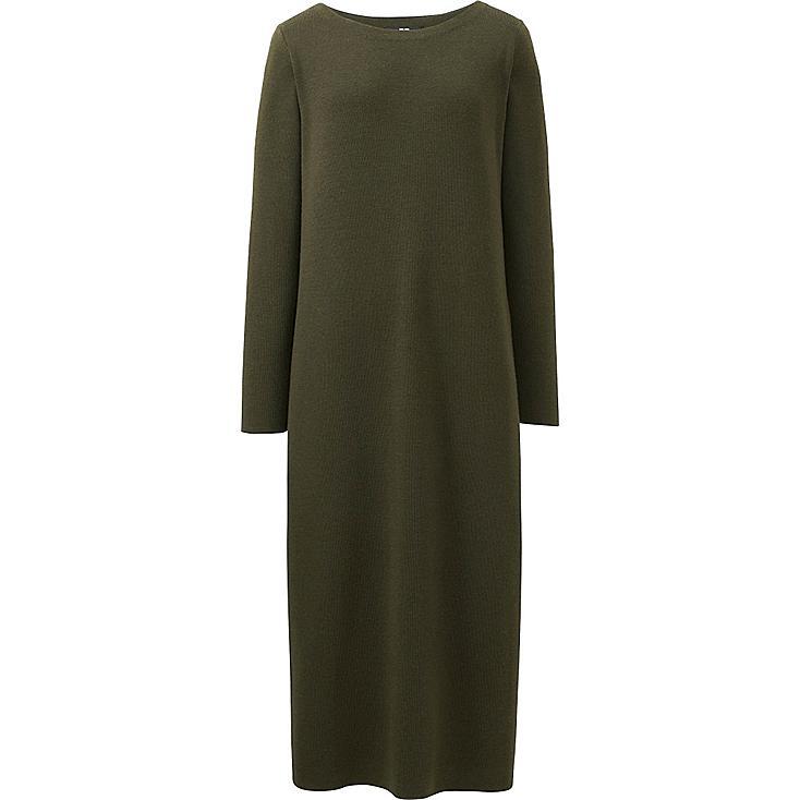 WOMEN KNIT COLUMN LONG SLEEVE DRESS, OLIVE, large