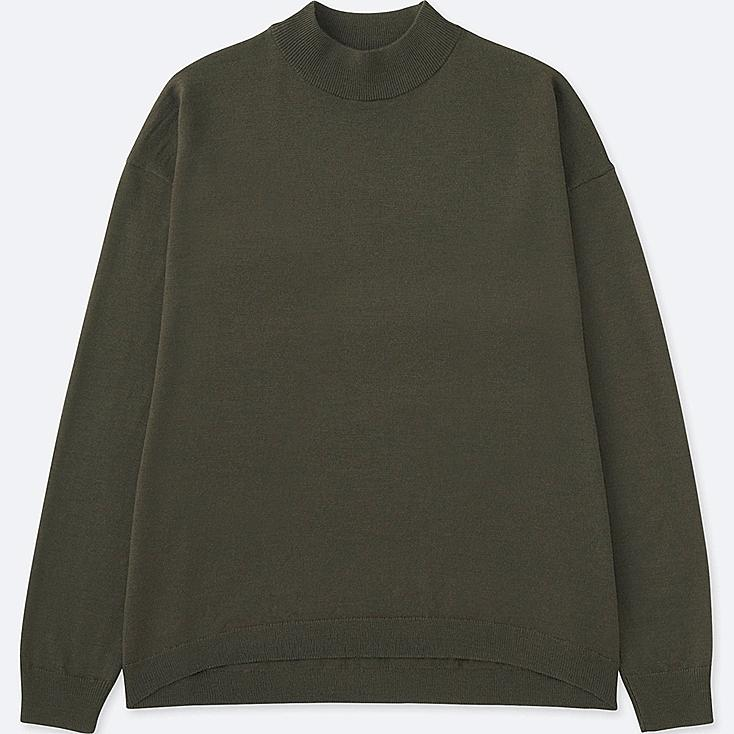 Women's Extra Fine Merino Wool High Neck Sweater, OLIVE, large