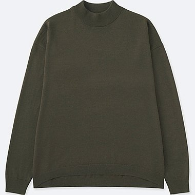 Womens Extra Fine Merino Wool High Neck Sweater, OLIVE, medium