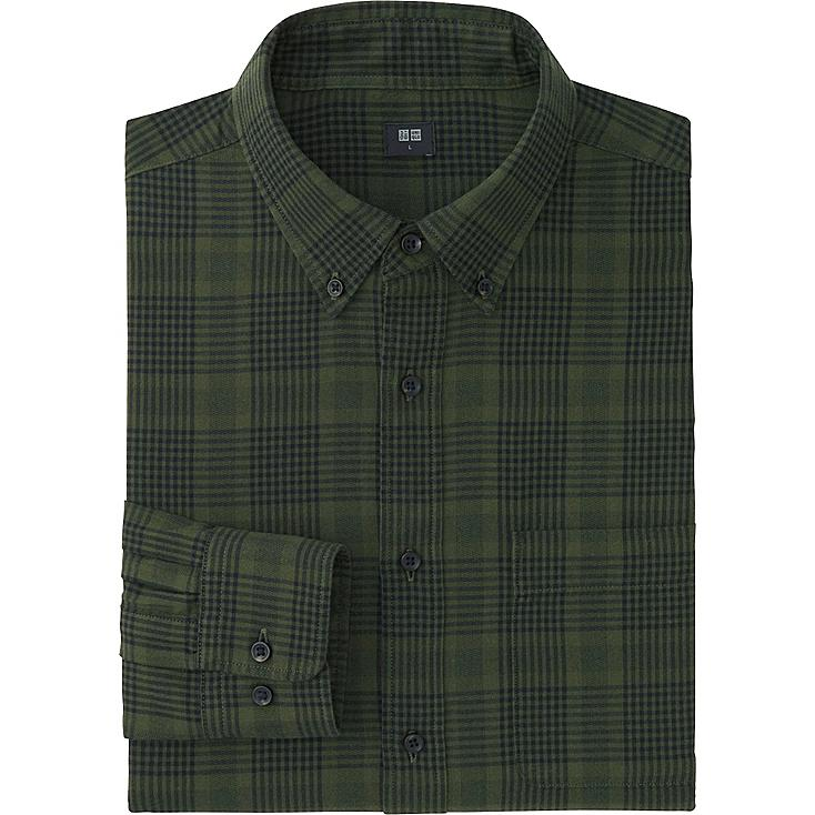 MEN FLANNEL CHECKED LONG SLEEVE SHIRT, OLIVE, large