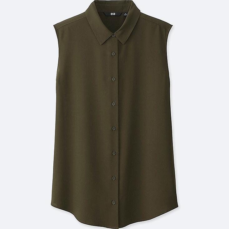 WOMEN RAYON SLEEVELESS BLOUSE, OLIVE, large