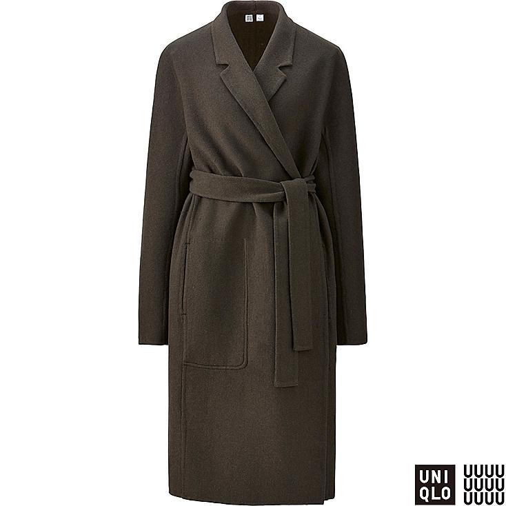 WOMEN U DOUBLE FACE WRAP COAT, OLIVE, large