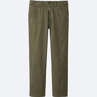 MEN VINTAGE REGULAR-FIT CHINO FLAT-FRONT PANTS, OLIVE, medium