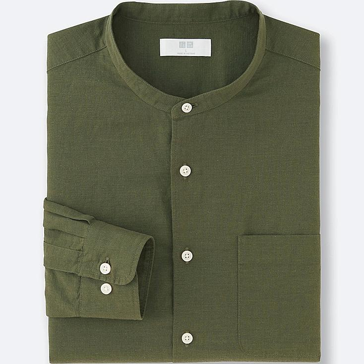 MEN LINEN COTTON STAND COLLAR LONG SLEEVE SHIRT, OLIVE, large