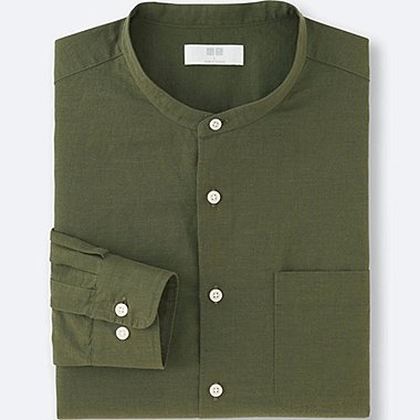 MEN LINEN COTTON STAND COLLAR LONG SLEEVE SHIRT, OLIVE, medium