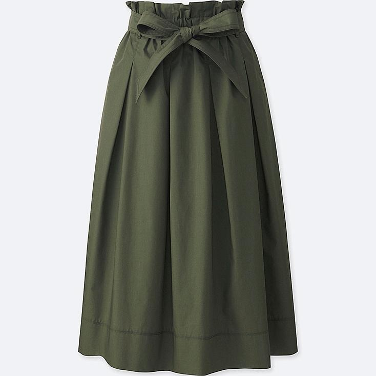 WOMEN HIGH WAIST BELTED FLARE MIDI SKIRT, OLIVE, large