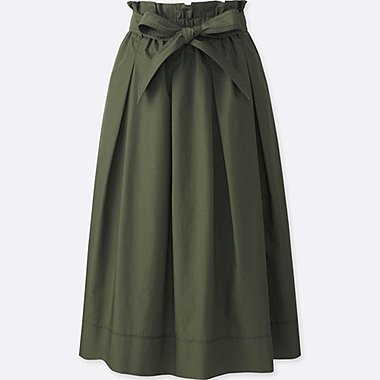 WOMEN HIGH WAIST BELTED FLARE MIDI SKIRT, OLIVE, medium