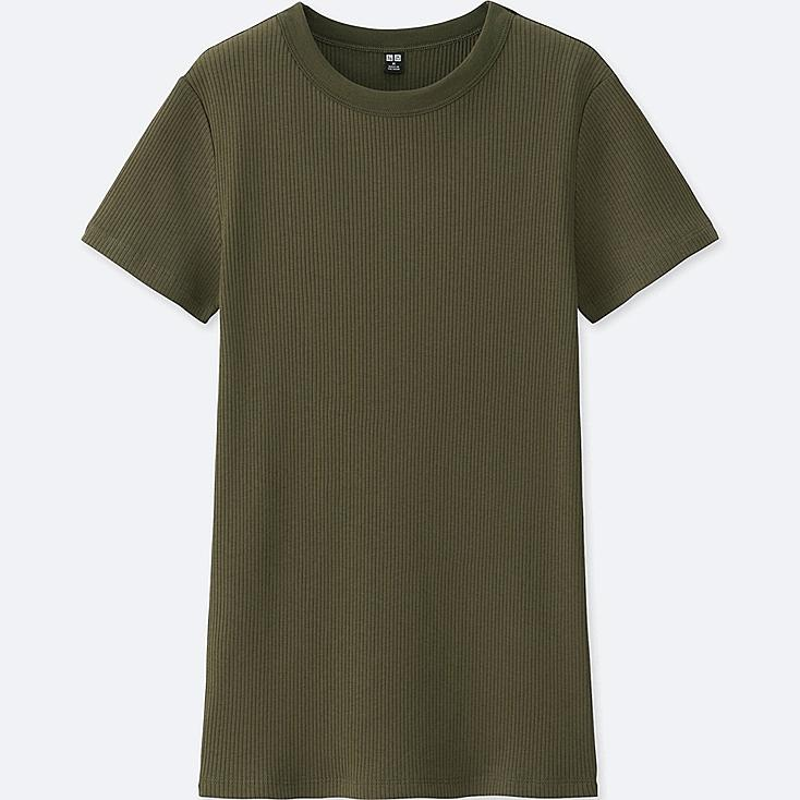 WOMEN Supima® COTTON RIBBED CREW NECK SHORT SLEEVE T-SHIRT, OLIVE, large