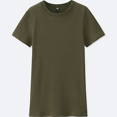 WOMEN Supima® COTTON RIBBED CREW NECK SHORT SLEEVE T-SHIRT, OLIVE, medium