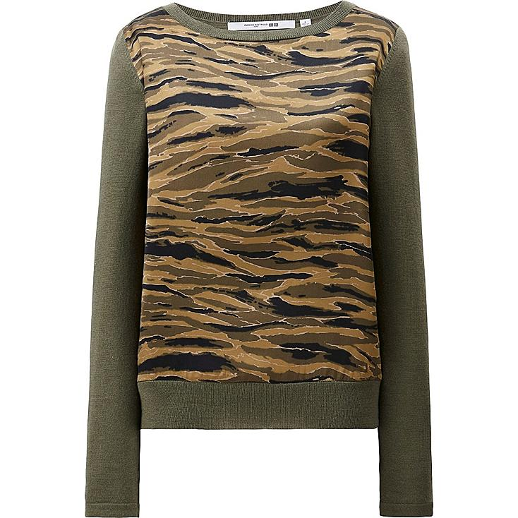WOMEN CARINE MERINO BLEND COMBINATION SWEATER, OLIVE, large
