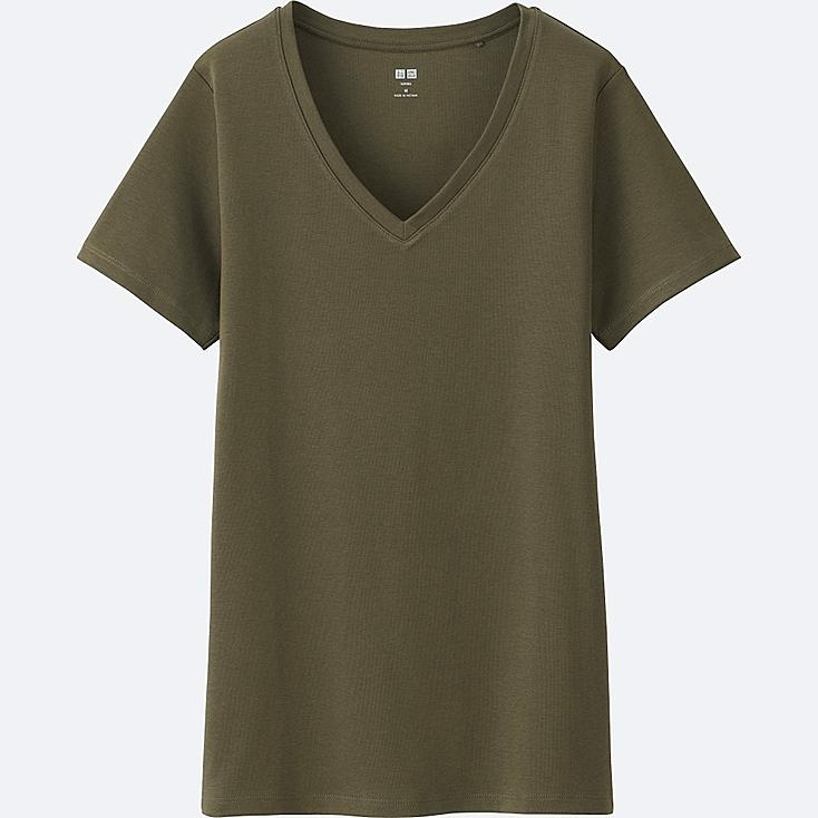 WOMEN Supima® COTTON V-NECK SHORT-SLEEVE T-SHIRT, OLIVE, large