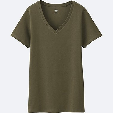 WOMEN Supima Cotton V Neck Short Sleeve T