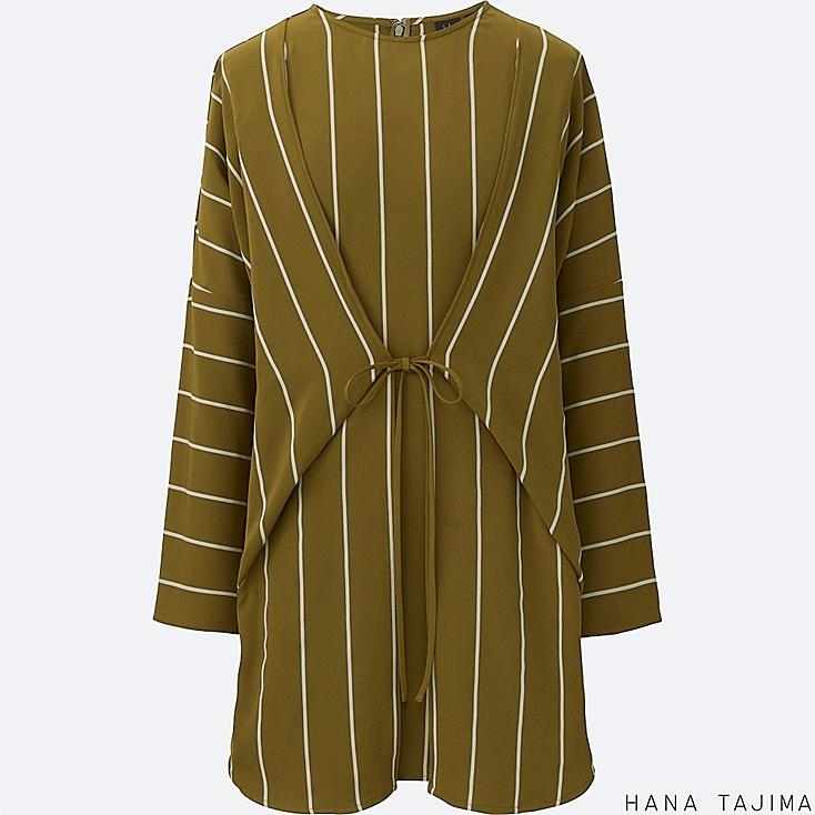 WOMEN STRIPED TIE LONG-SLEEVE TUNIC, OLIVE, large