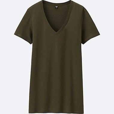 WOMEN Modal Linen V Neck Short Sleeve T-Shirt