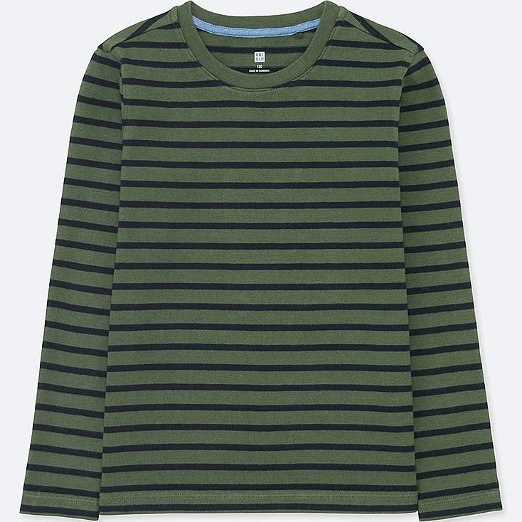 BOYS STRIPED CREWNECK LONG-SLEEVE T-SHIRT, OLIVE, large