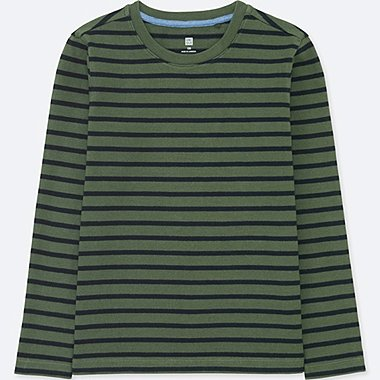 BOYS STRIPED CREWNECK LONG-SLEEVE T-SHIRT, OLIVE, medium