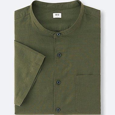 MEN LINEN COTTON SHORT-SLEEVE SHIRT, OLIVE, medium