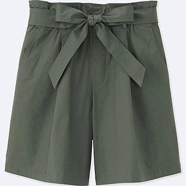 WOMEN HIGH RISE BELTED SHORTS, OLIVE, medium