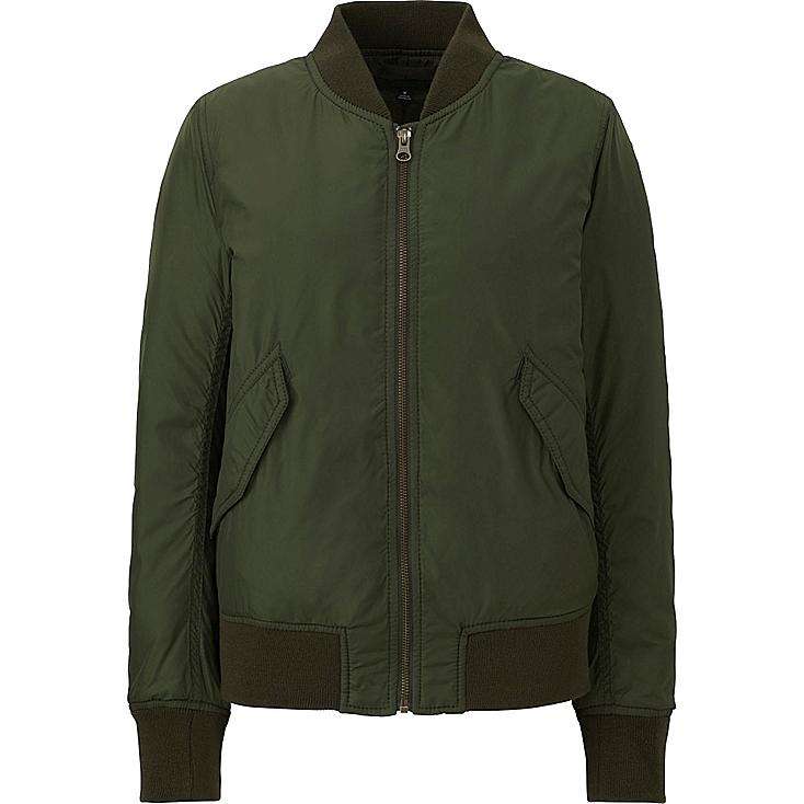 WOMEN MA-1 BOMBER JACKET, OLIVE, large