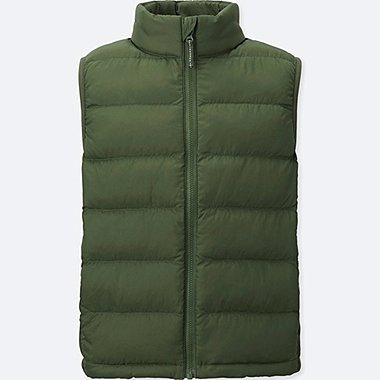 BOYS LIGHT WARM PADDED VEST, OLIVE, medium
