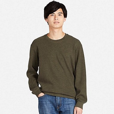 MEN DOUBLE FACE LONG SLEEVE CREW NECK T-SHIRT