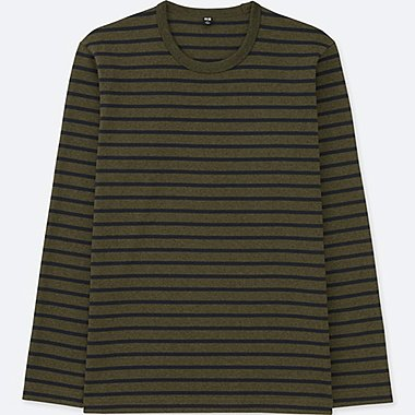 MEN WASHED STRIPED CREW NECK LONG SLEEVE T-SHIRT